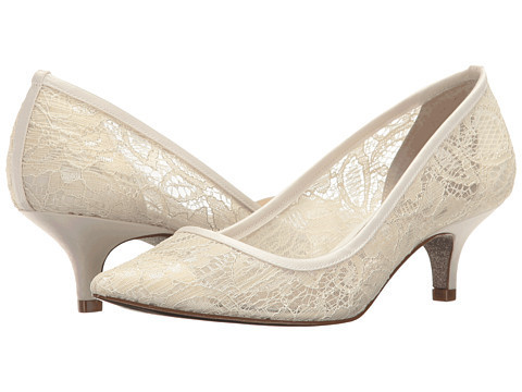 Women's White Lace Wedding Shoes Low-cut Pointed Toe Stiletto Heels For Wedding